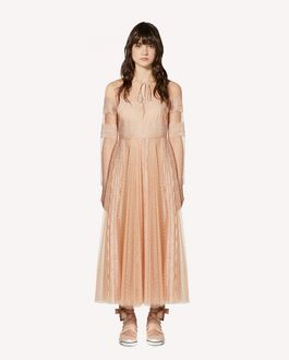 REDValentino Limited Edition   Point d'esprit Tulle dress with lace ribbons