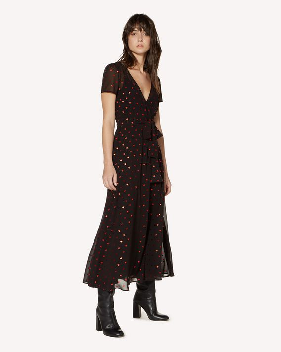 REDValentino Lamè Hearts printed silk dress