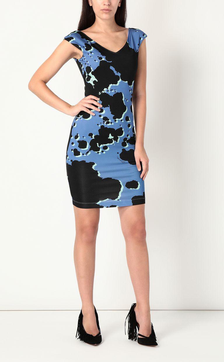 "JUST CAVALLI Dress with ""Sprayed Cow"" print Short dress Woman r"