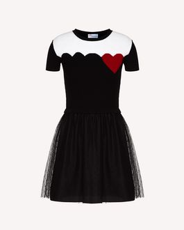 REDValentino Wool-knit dress with Heart inlay and scallops