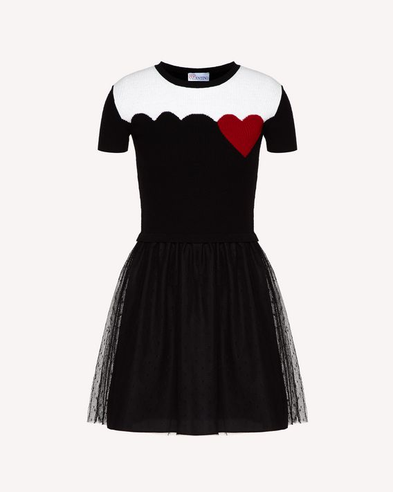REDValentino Hearts and scallop intarsia wool blend knit dress