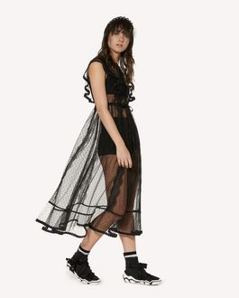 REDValentino Point d'Esprit tulle dress with zagana detail