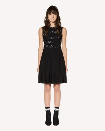 REDValentino Rhinestones embroidered georgette dress