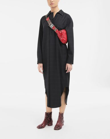 DRESSES Check wool shirt-dress Blue