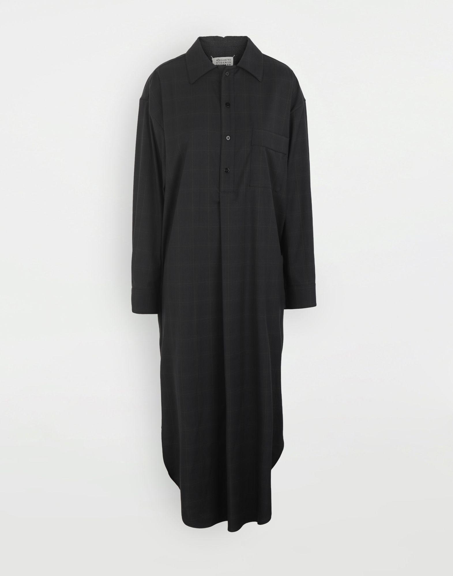 MAISON MARGIELA Kariertes Hemdkleid aus Wolle Kleid Dame f