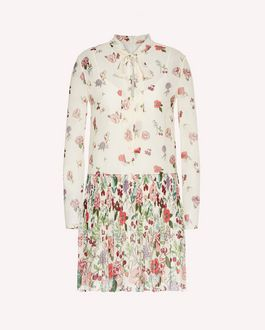 REDValentino Pleated muslin dress with Cherry Blossom print
