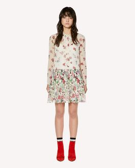 REDValentino Cherry Blossom printed muslin pleated dress