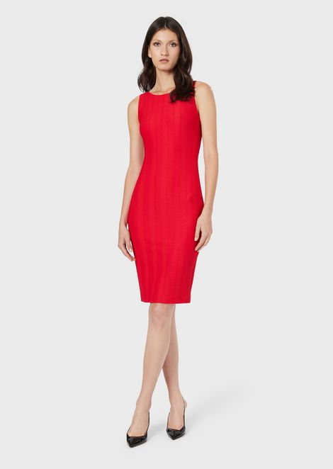 Textured-fabric sheath dress