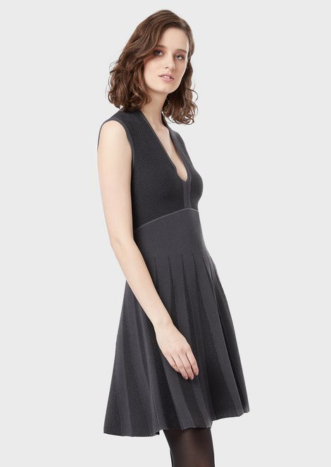 Dress with flared skirt and jacquard inserts