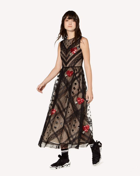 REDValentino Hearts and Daggers embroidered point d'Esprit tulle dress