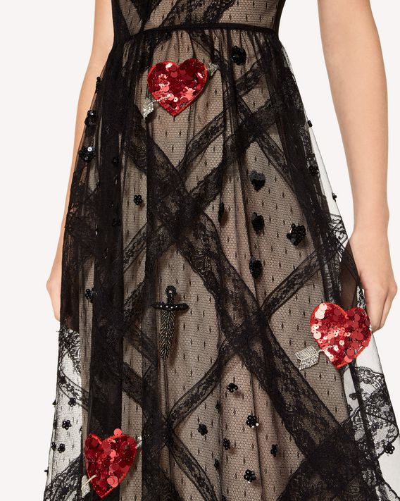 REDValentino Tulle point d'esprit dress with heart and dagger embroidery