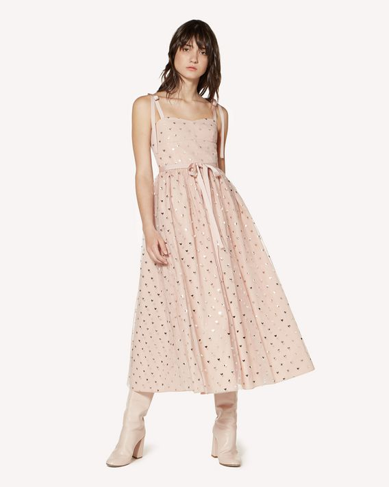 REDValentino Taffeta dress with lamé Heart print