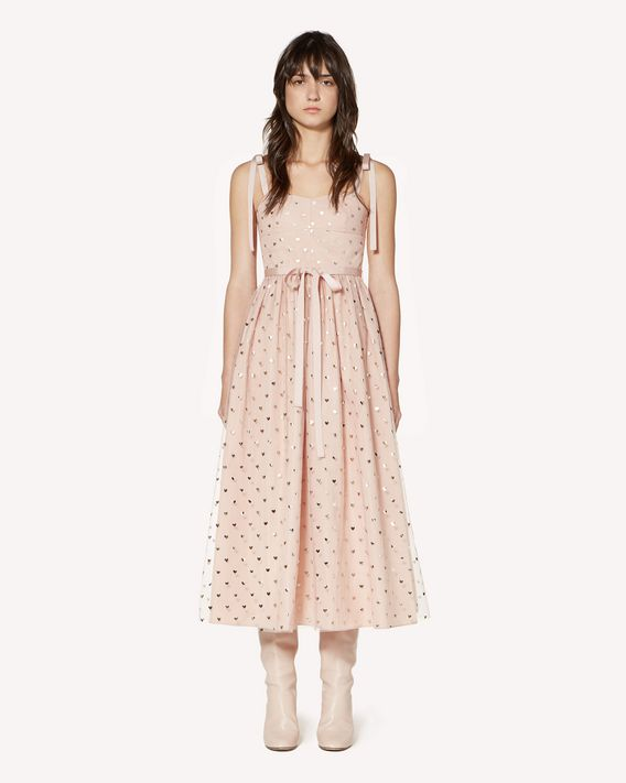 REDValentino Lamè Hearts printed taffeta dress