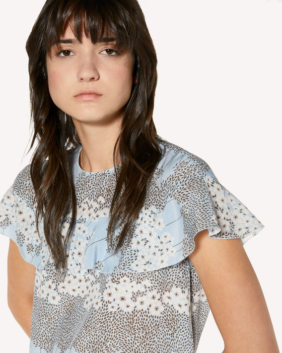 REDValentino Silk dress with Dreaming Peony print and ruffle detail