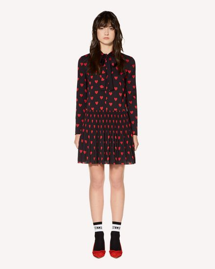 Hearts printed crepe de chine pleated dress