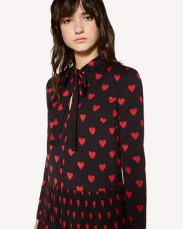REDValentino Crepe de chine pleated dress with Heart print