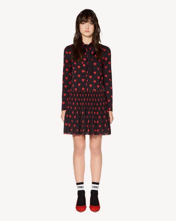 REDValentino Hearts printed crepe de chine pleated dress