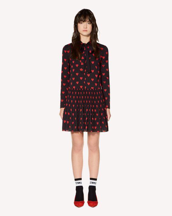 REDValentino 心形印纹双绉褶裥连衣裙