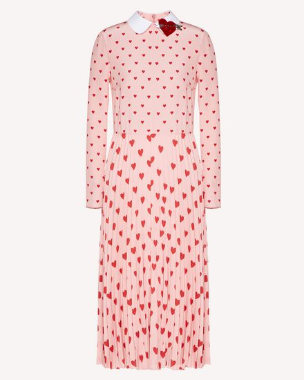 Heart print crepe de chine dress with heart patch detail