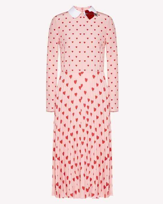 REDValentino Heart print crepe de chine dress with heart patch detail