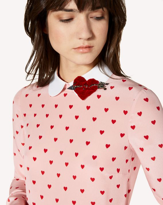 REDValentino Heart printed crepe de chine dress with heart patch detail