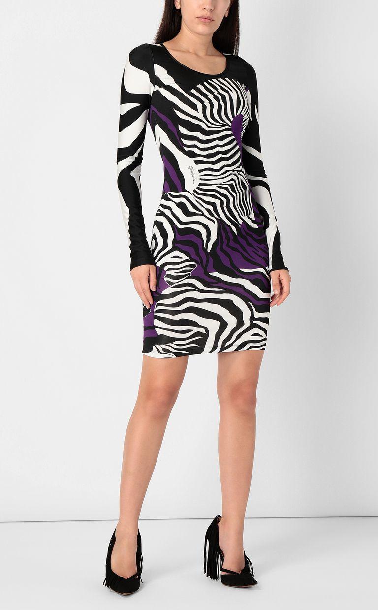 JUST CAVALLI Dress with zebra-stripe print Short dress Woman r