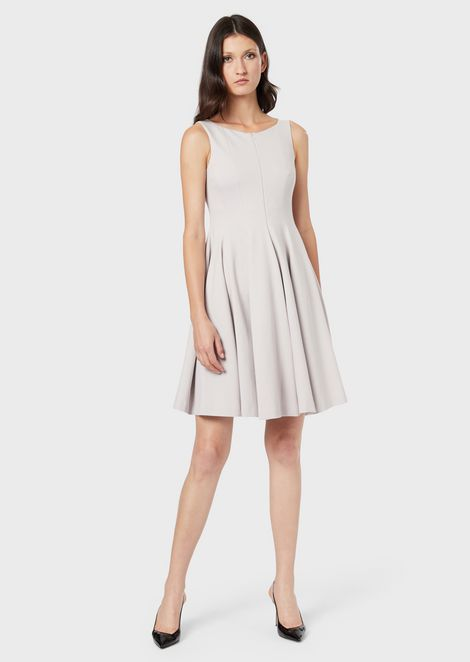 Front-zip dress with pleated skirt