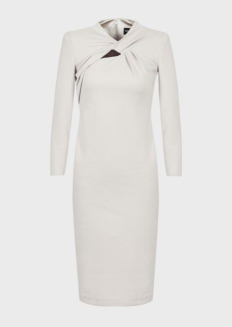 Milano-stitch jersey dress with crossed neckline