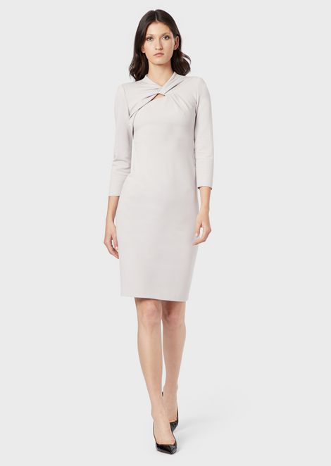 Milano-stitch jersey dress with crossed neckline