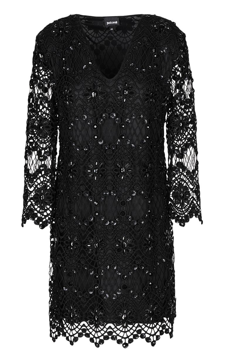 JUST CAVALLI Black macramé dress Dress Woman f