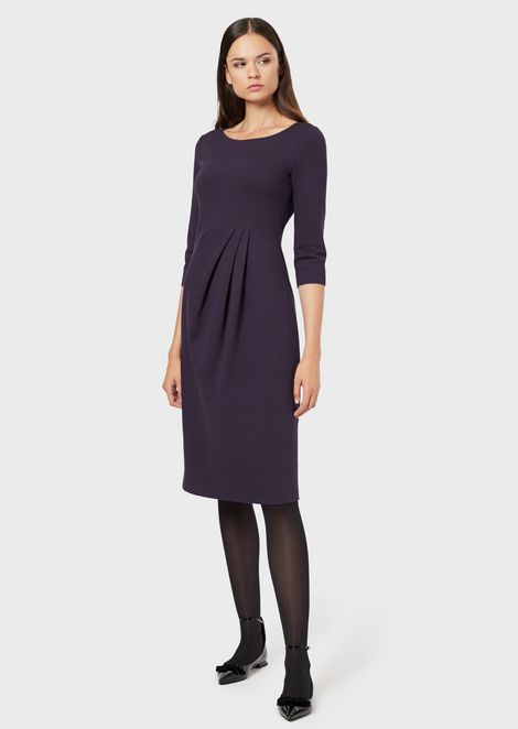 Milano stitch fabric dress with darts at the waist and three-quarter sleeves