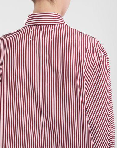 ПЛАТЬЯ Рубашка в тонкую полоску с асимметричным низом Бордовый
