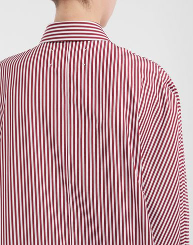 DRESSES Pinstripe asymmetric hem shirt Maroon