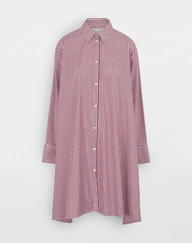 MAISON MARGIELA Pinstripe asymmetric hem shirt Short dress Woman f
