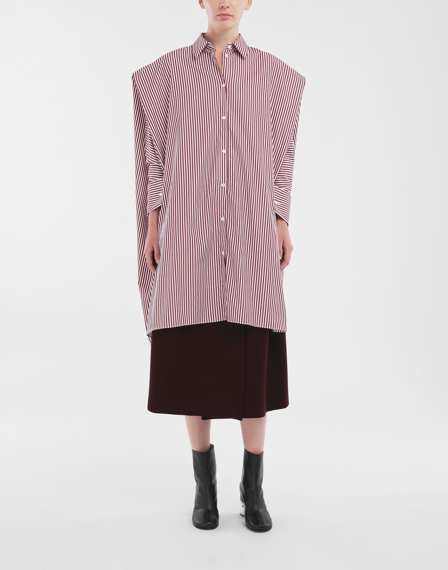 MAISON MARGIELA Camisa con dobladillo asimétrico y raya diplomática Minivestido Mujer d
