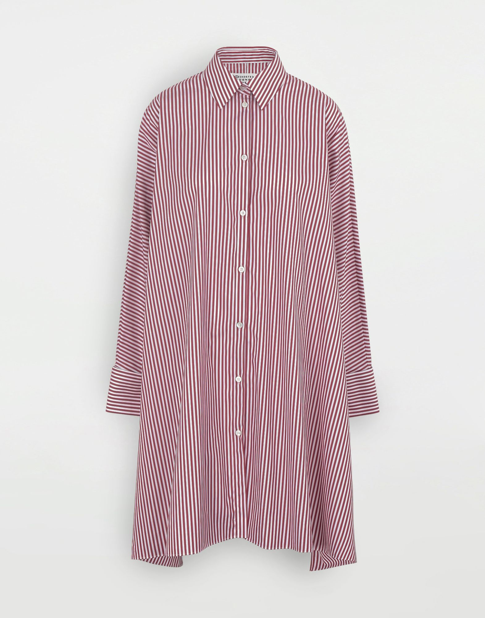 MAISON MARGIELA Pinstripe asymmetric hem shirt Dress Woman f