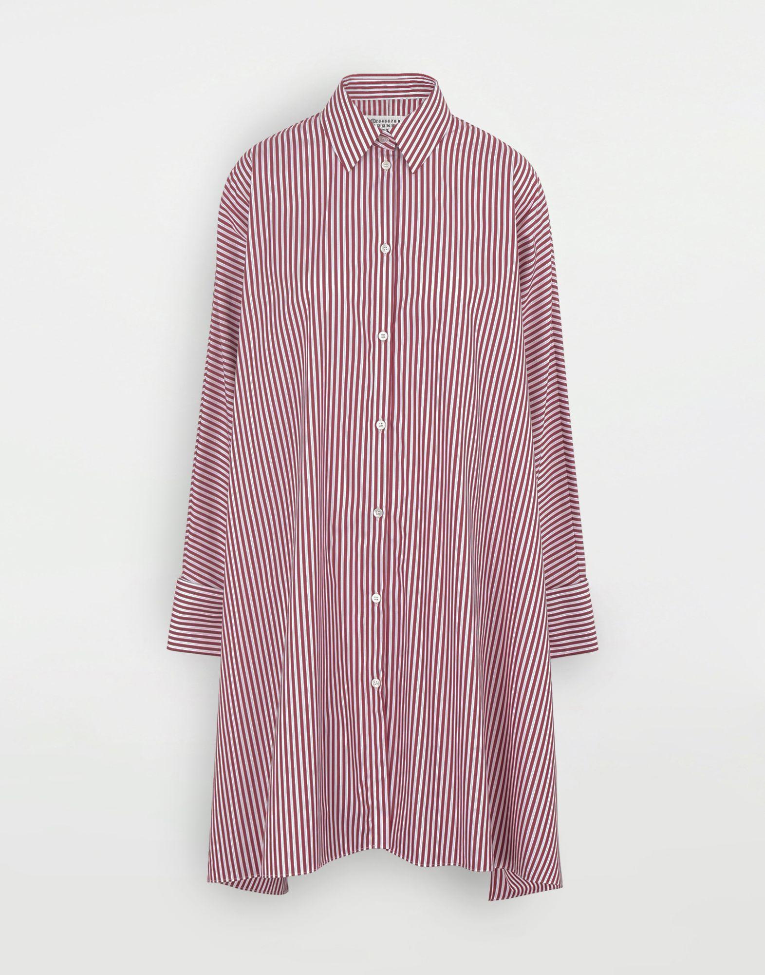 MAISON MARGIELA Camisa con dobladillo asimétrico y raya diplomática Minivestido Mujer f