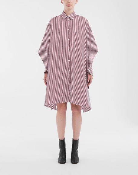 MAISON MARGIELA Pinstripe asymmetric hem shirt Short dress Woman r
