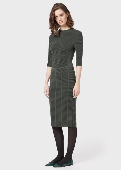 Ottoman tube dress with three-quarter sleeves