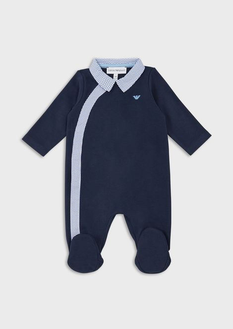 Baby suit with micro-patterned trim