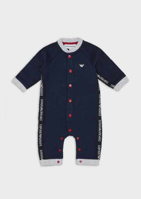 Baby suit with logo bands