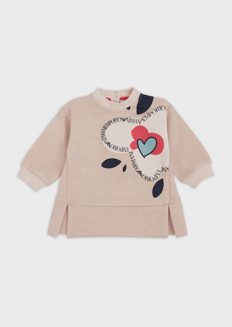 Lurex cotton sweatshirt with floral print