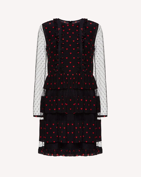 REDValentino Heart print silk dress with tulle point d'esprit