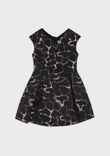 Camouflage-print flared dress