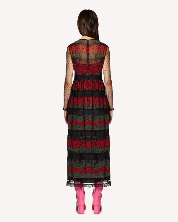 REDValentino Muslin dress with Dreaming Peony print and tulle point d'esprit