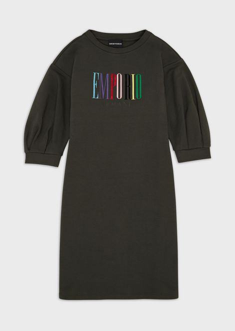Lightweight jersey fleece dress with multicolour logo