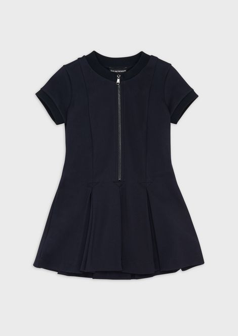 Short-sleeved, flared, zippered dress