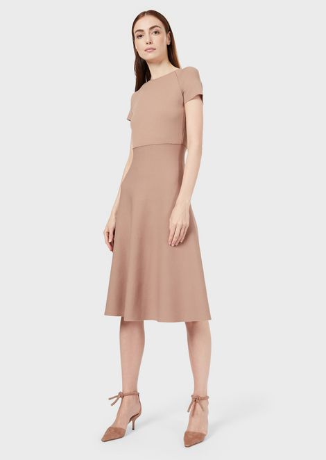 Two-colour flared midi dress