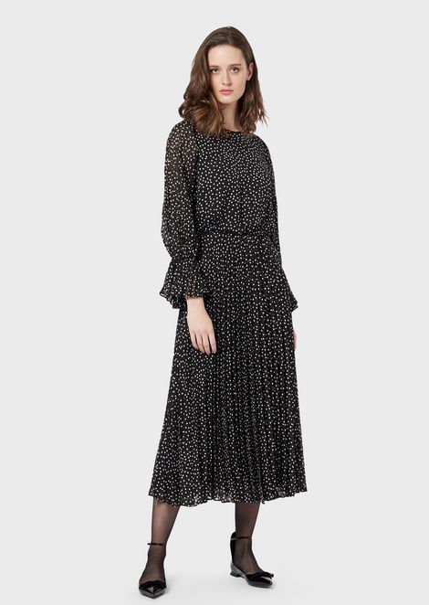 Crepon long dress with polka dot jacquard motif