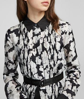 KARL LAGERFELD ORCHID PRINT SILK SHIRT DRESS